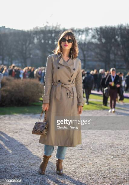 Jeanne Damas seen wearing trench coat outside Dior during Paris Fashion Week - Haute Couture Spring/Summer 2020 on January 20, 2020 in Paris, France.