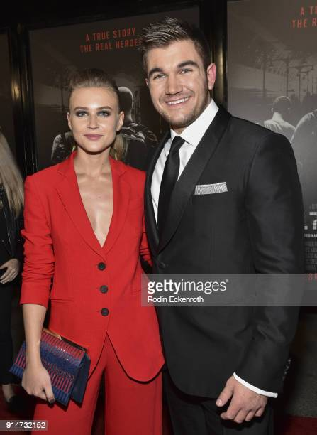 Jeanne Goursaud and Alek Skarlatos arrive at the premiere of Warner Bros Pictures' The 1517 to Paris at Warner Bros Studios on February 5 2018 in...