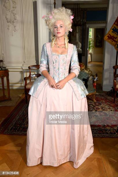 Jeanne Goursaud during the Photo Call at the set of the ARD fairytale TV movie 'Der Schweinehirt' at Schloss Friedrichsfelde on July 12 2017 in...