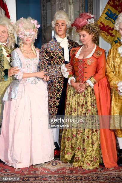 Jeanne Goursaud Margarita Broich and Emilio Sakraya Moutaoukkil during the Photo Call at the set of the ARD fairytale TV movie 'Der Schweinehirt' at...