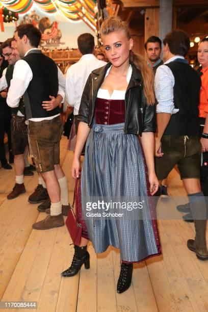 Jeanne Goursaud wearing a Dirndl by Amsel Fashion during the Breakfast at Tiffany at Schuetzen Festzelt at the Oktoberfest opening on September 21...