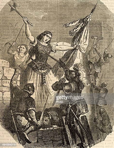 Jeanne Hachette French heroine Jeanne Hachette during the Beauvais site June 27 1472 Engraving by Pothey Popular Universal Library Editions 1851