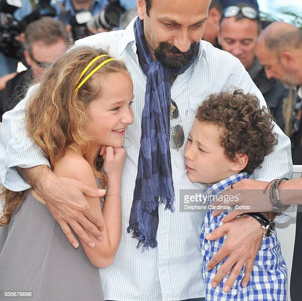 Jeanne Jestin director Asghar Farhadi and Elyes Aguis attend Le Passe photo call during the 66th Cannes International Film Festival