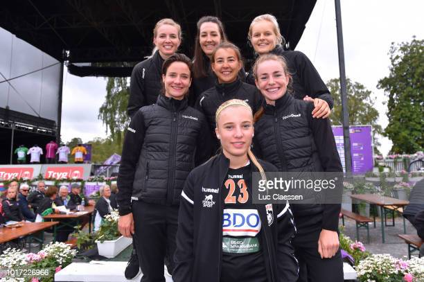 Illustration / Jerseys / during the 4th Ladies Tour of Norway 2018 Team Presentation on August 15 2018 in Halden Norway