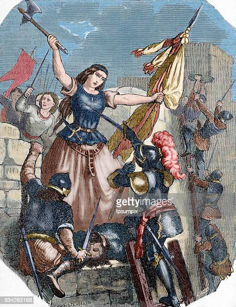 Jeanne Laisné French heroine Jeanne Hachette during the Beauvais site June 27 1472 Engraving by Pothey Popular Universal Library Editions 1851 Colored