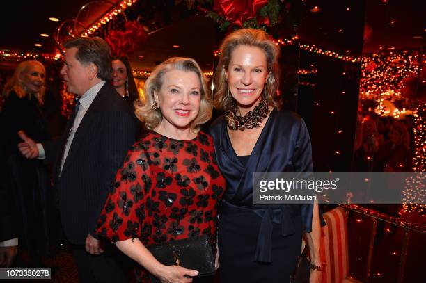 Jeanne Lawrence and Alison Spear attend George Farias Anne Jay McInerney Host A Holiday Party at The Doubles Club on December 13 2018 in New York City