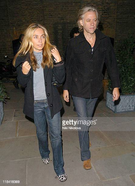 Jeanne Marine and Bob Geldof during Celebrity Sightings at Muse of Mayfair October 4 2006 at Bond Street in London Great Britain