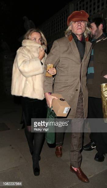 Jeanne Marine and Bob Geldof seen attending Sir Mick Jagger Christmas party on December 13 2018 in London England