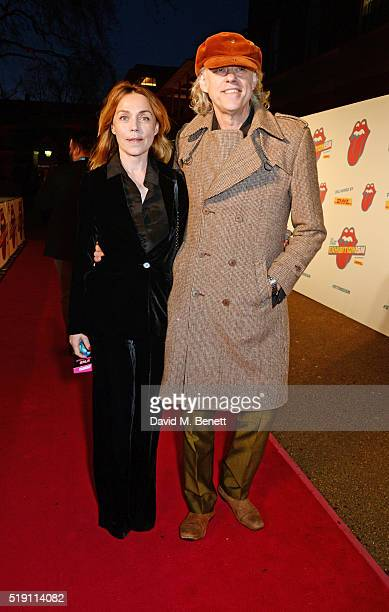 Jeanne Marine and Sir Bob Geldof attend a private view of 'The Rolling Stones Exhibitionism' at The Saatchi Gallery on April 4 2016 in London England