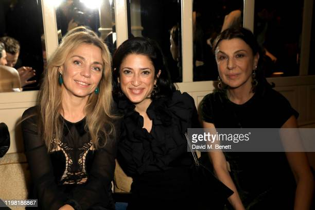 Jeanne Marine Fatima Bhutto and Allegra Donn pose the Netflix BAFTA after party at Chiltern Firehouse on February 2 2020 in London England