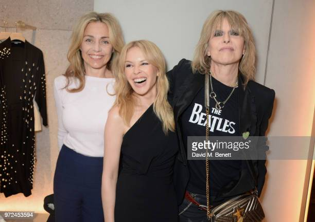 Jeanne Marine Kylie Minogue and Chrissie Hynde attend the launch of the Stella McCartney Global flagship store on Old Bond Street on June 12 2018 in...