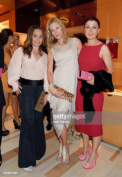 Jeanne Marine Priscilla Waters and Allegra Donn attend the launch of the Louis Vuitton Bond Street Maison on May 25 2010 in London England