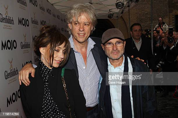 Jeanne Marine Sir Bob Geldof and Phil Collins attend the Glenfiddich Mojo Honours List 2011 at The Brewery on July 21 2011 in London England