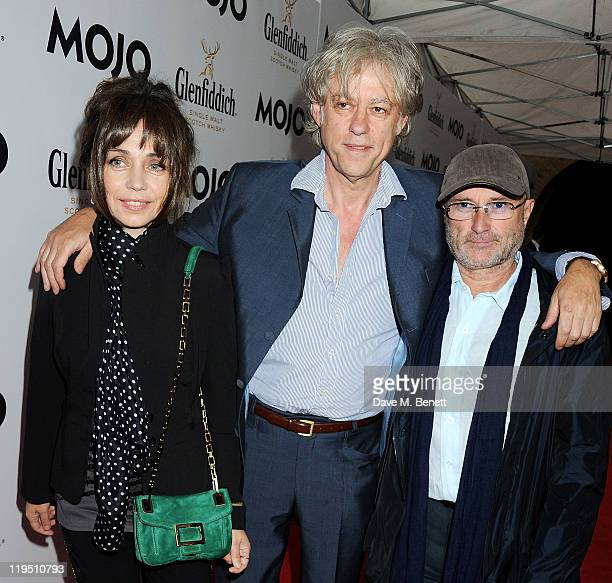 Jeanne Marine Sir Bob Geldof Phil Collins arrive at the Glenfiddich Mojo Honours List 2011 awards ceremony at The Brewery on July 21 2011 in London...