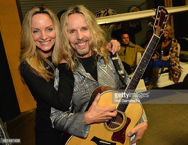 Jeanne Mason and Tommy Shaw attend Playin' Possum! The Final No Show Tribute To George Jones at Bridgestone Arena on November 22, 2013 in Nashville,...