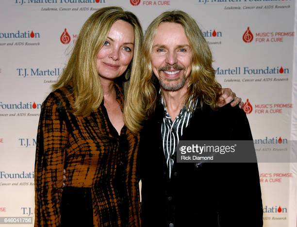 Jeanne Mason and Tommy Shaw of Styx attend the T.J. Martell Foundation 9th Annual Nashville Honors Gala at Omni Hotel on February 27, 2017 in...