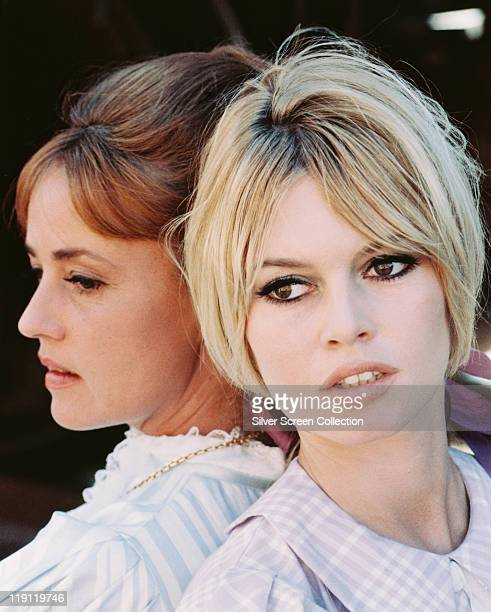 Jeanne Moreau and Brigitte Bardot in a publicity still issued for the film, 'Viva Maria!', 1965. The 1965 comedy, directed by Louis Malle , starred...