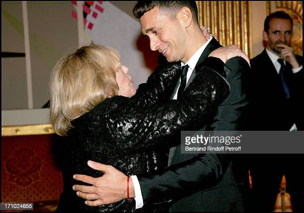 Jeanne Moreau and Hedi Slimane dinner in honor of Jeanne Moreau organized by the minister of culture after the awards ceremony for Commander of the...