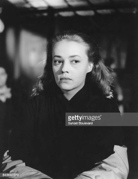 Jeanne Moreau on the set of Les Louves directed by Luis Saslavsky.
