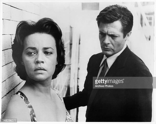 Jeanne Moreau turned away while Marcello Mastroianni looks toward her with concern in a scene from the film 'La Notte' 1961