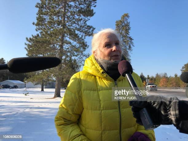 Jeanne Nutter speaks to the press on January 11 2019 in Gordon Wisconsin Nutter walking her dog near the cabin she owns with her husband Forrest on...