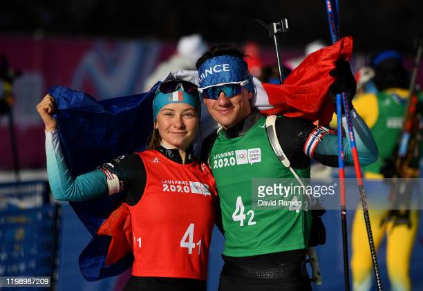 Jeanne Richard and Mathieu Garcia celebrate after winning the Single Mixed Relay in Biathlon during day 3 of the Lausanne 2020 Winter Youth Olympics...