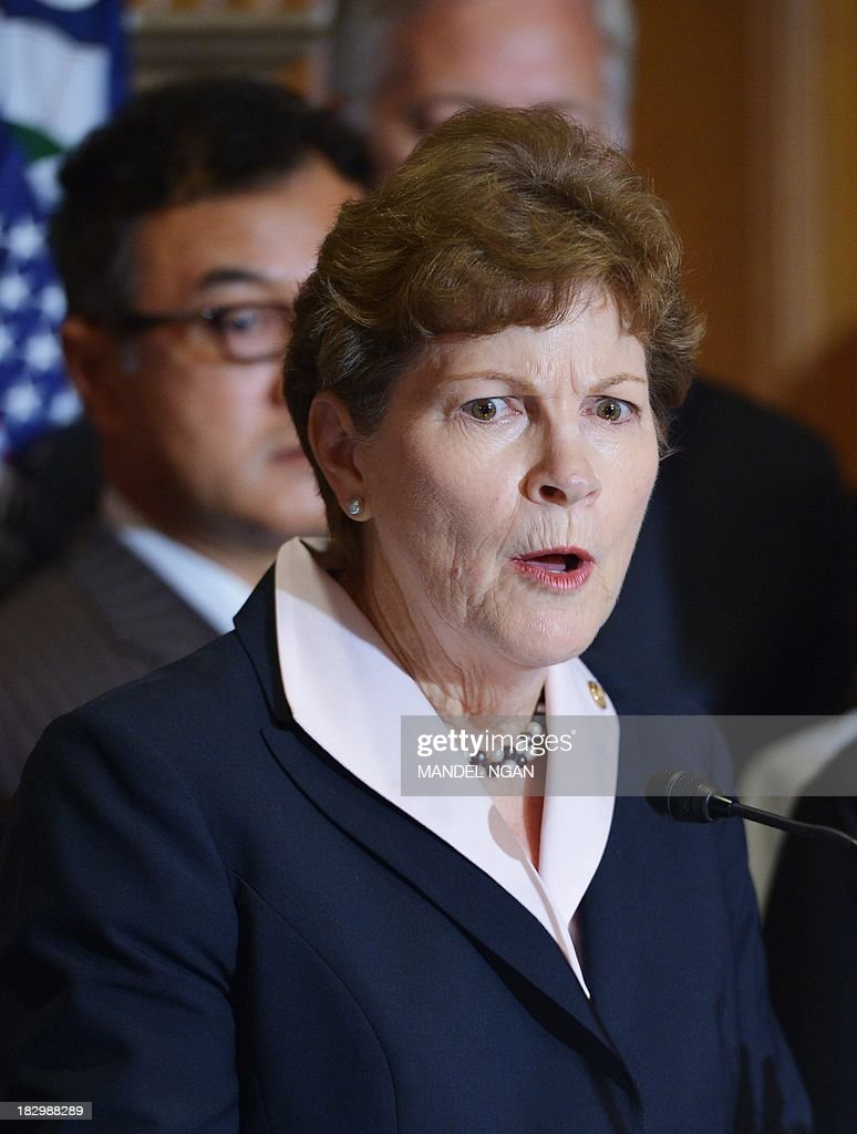 US Jeanne Shaheen, D-NH, speaks during a press conference to highlight the impact of the government shutdown on small bussinesses on October 3, 2013 in the Mansfield Room of the US Capitol in Washington, DC. AFP PHOTO/Mandel NGAN