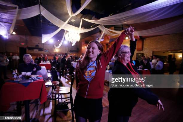 Jeanne Stuart left and Carla Kjellberg volunteers fro Betsy Hodges danced at El Nuevo Rodeo the campaign headquarters of Minneapolis mayoral...