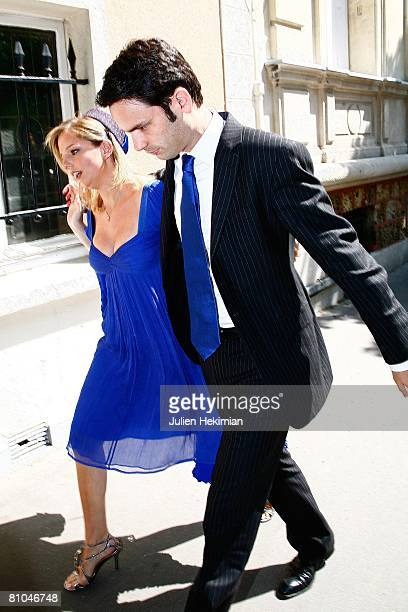 JeanneMarie Martin and her future husband Gurvan Rallon arrive at Richard Attias' house for the wedding lunch prior to the church ceremony on May 10...
