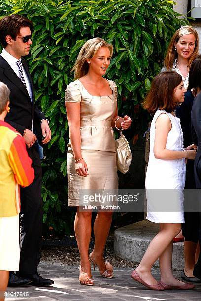 JeanneMarie Martin's sister Judith Martin arrives at the St Pierre de Neuilly church for the wedding celebration of JeanneMarie Martin and Gurvan...