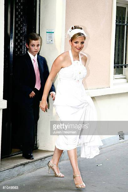 JeanneMarie Rallon and her brother Louis sarkozy leave the Richard Attias house to go to Pre Catelan Party on May 10 2008 in Neuilly France