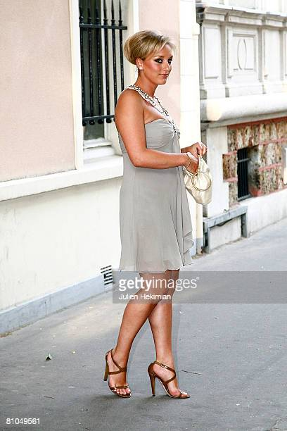JeanneMarie's sister Judith Martin leaves the Richard Attias house to go to the Pre Catelan Party on May 10 2008 in Neuilly France