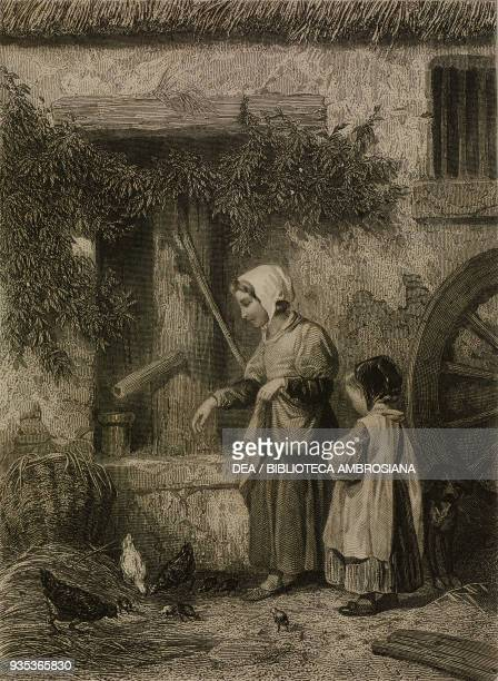 Jeannette a teenage girl and a girl feeding chickens engraving by JosephLouis DesjardinsIsnard from a drawing by Valerio Magasin des Demoiselles...