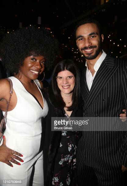 """Jeannette Bayardelle, Producer Mandy Hackett and Austin Smith pose at the opening night after party for the new Bob Dylan Musical """"Girl From The..."""