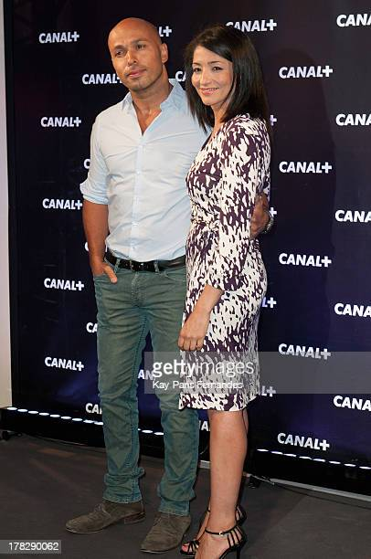 Jeannette Bougrab and Eric Judor at the 'Rentree De Canal ' photocall at Porte De Versailles on August 28 2013 in Paris France