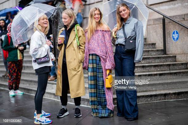 Jeannette Madsen Thora Valdimars Emili Sindlev is seen outside Carolina Herrera during New York Fashion Week Spring/Summer 2019 on September 10 2018...