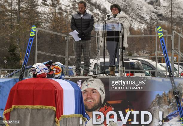 Jeannette Poisson mother of late French skier David Poisson delivers a speech during a ceremony in his memory in PeiseyNancroix in the French Alps on...
