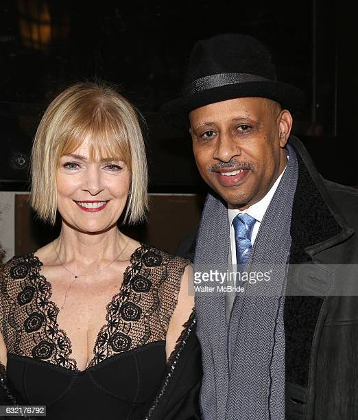 Jeannie Brittan and Ruben SantiagoHudson attend the Manhattan Theatre Club's Broadway debut of August Wilson's 'Jitney' at the Samuel J Friedman...