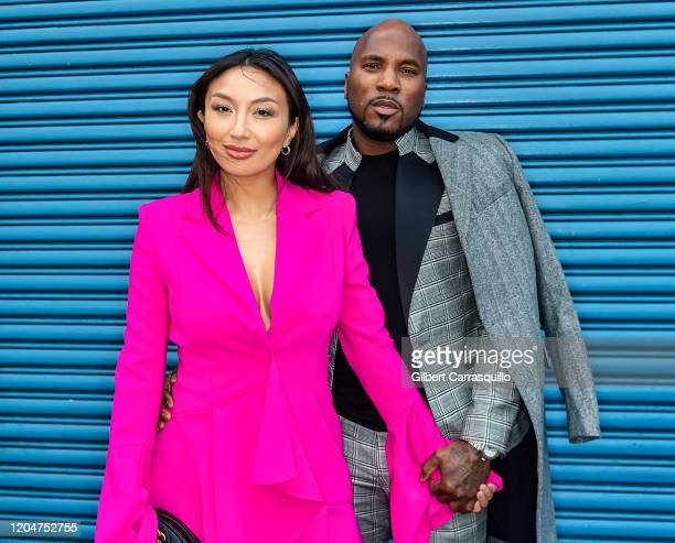 Jeannie Mai and Rapper Jeezy are seen arriving to the Pamella Roland fashion show during New York Fashion Week at Pier 59 Studios on February 07,...