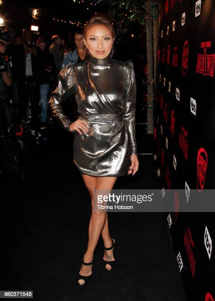 Jeannie Mai attends the premiere for TBS's 'Drop The Mic' and 'The Joker's Wild' at The Highlight Room on October 11 2017 in Los Angeles California