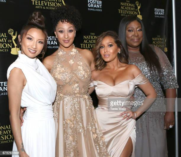 Jeannie Mai Tamera Mowry Adrienne Bailon Loni Love of the show The Real attend the 44th Daytime Emmy Awards with Foster Grant on April 30 2017 in Los...
