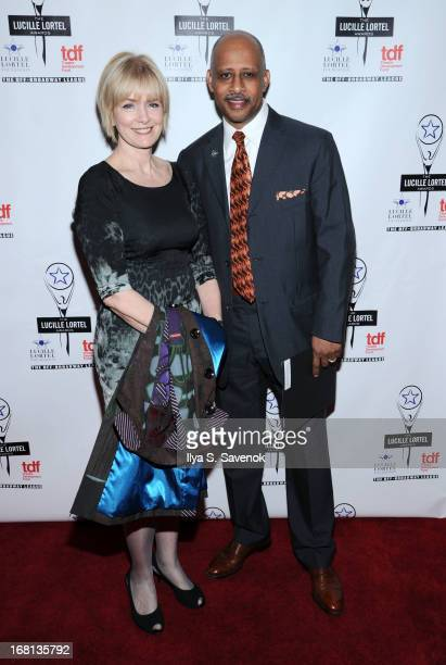 Jeannie Santiago and actor Ruben SantiagoHudson attend the 28th Annual Lucille Lortel Awards at NYU Skirball Center on May 5 2013 in New York City