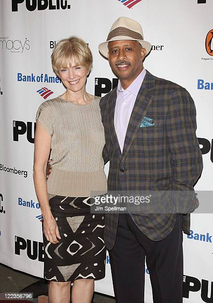 Jeannie Santiago and actor Ruben SantiagoHudson attend the opening night celebration for The Winter's Tale at Shakespeare in the Park at the...
