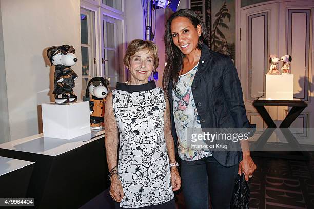 Jeannie Schulz and Barbara Becker attend the Snoopy & Belle Vernissage at Mercedes-Benz Fashion Week Berlin Spring/Summer 2016 at Ermelerhaus on July...