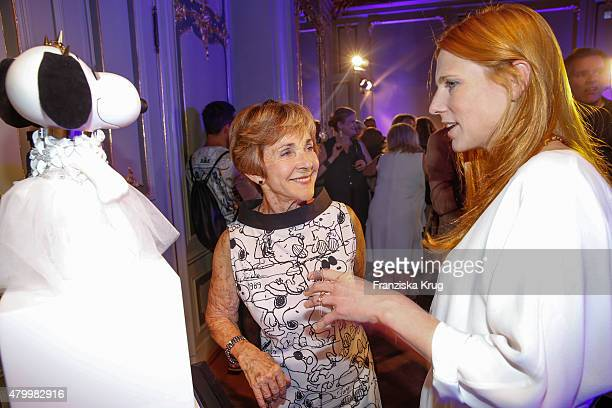Jeannie Schulz and Johanna Kuhl attend the Snoopy & Belle In Fashion during the Mercedes-Benz Fashion Week Berlin Spring/Summer 2016 at Ermelerhaus...