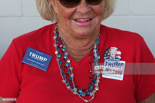Jeannie Stagg of Virginia Beach VA waits near the head of the line of people waiting to get into a rally with Republican presidential candidate and...