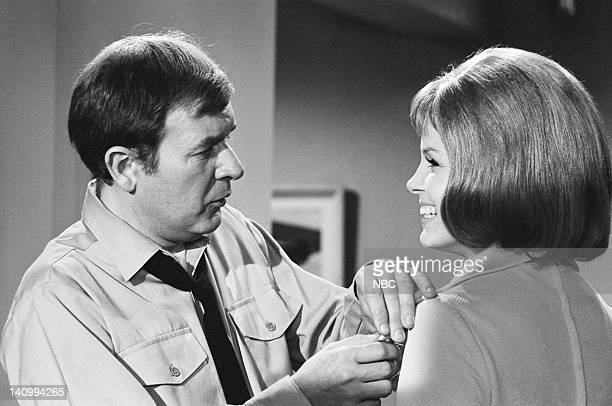 """Jeannie's Beauty Cream"""" Episode 5 -- Aired 10/14/69 -- Pictured: Bill Daily as Maj. Roger Healey, Laraine Stephens as the new Amanda -- Photo by:..."""