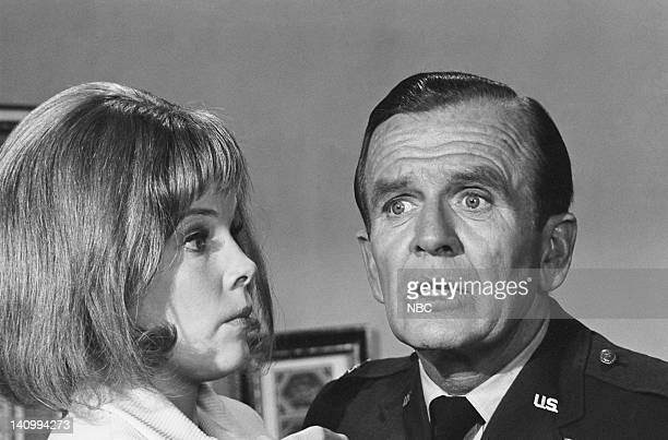 """Jeannie's Beauty Cream"""" Episode 5 -- Aired 10/14/69 -- Pictured: Laraine Stephens as the new Amanda, Hayden Rorke as Col. Alfred E. Bellows -- Photo..."""