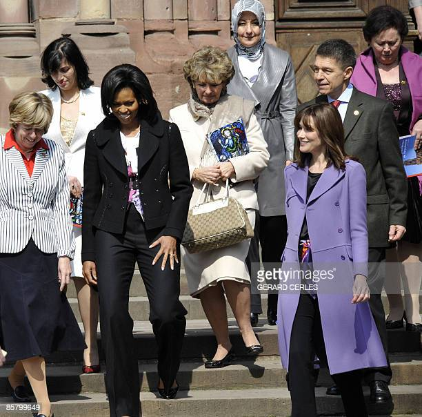 Jeannine de Hoop Scheffer Bianca Balkenende Michelle Obama wife of Jean Claude Juncker Christiane Frising Hayrunisa Gul French First Lady Carla...