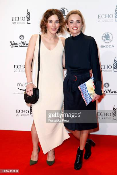 Jeannine Michaelsen and Annie Hoffmann attend the Echo award red carpet on April 6 2017 in Berlin Germany